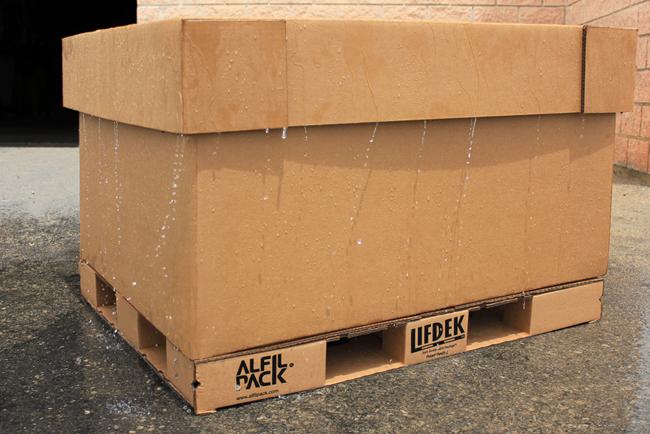 Una innovación de Alfilpack permite impermeabilizar los contenedores de cartón con un tratamiento hidrofugante
