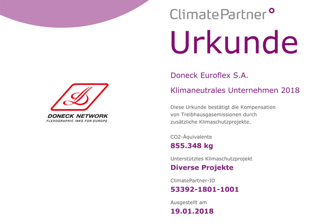 Doneck Euroflex produces its printing inks in a climate-neutral process and presents water-based inks on the basis of renewable resources!