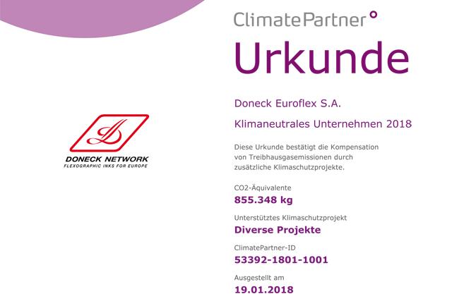 Doneck Euroflex fabrica sus tintas de impresión con neutralidad climática y presenta tintas de base de agua compuesta de materias primas renovables