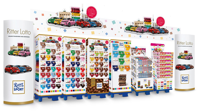 El sistema para exposición y venta de productos de gran tamaño de DS Smith promociona la variedad de chocolates de RITTER EXPORT